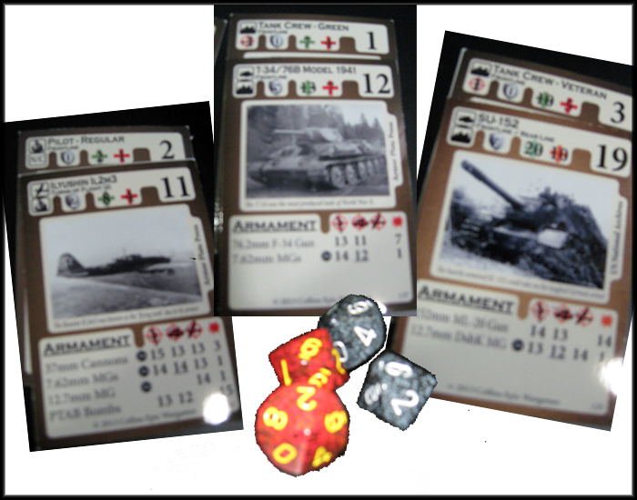 Cards and dice from Collins Epic's upcoming expansion, on Kickstarter now.