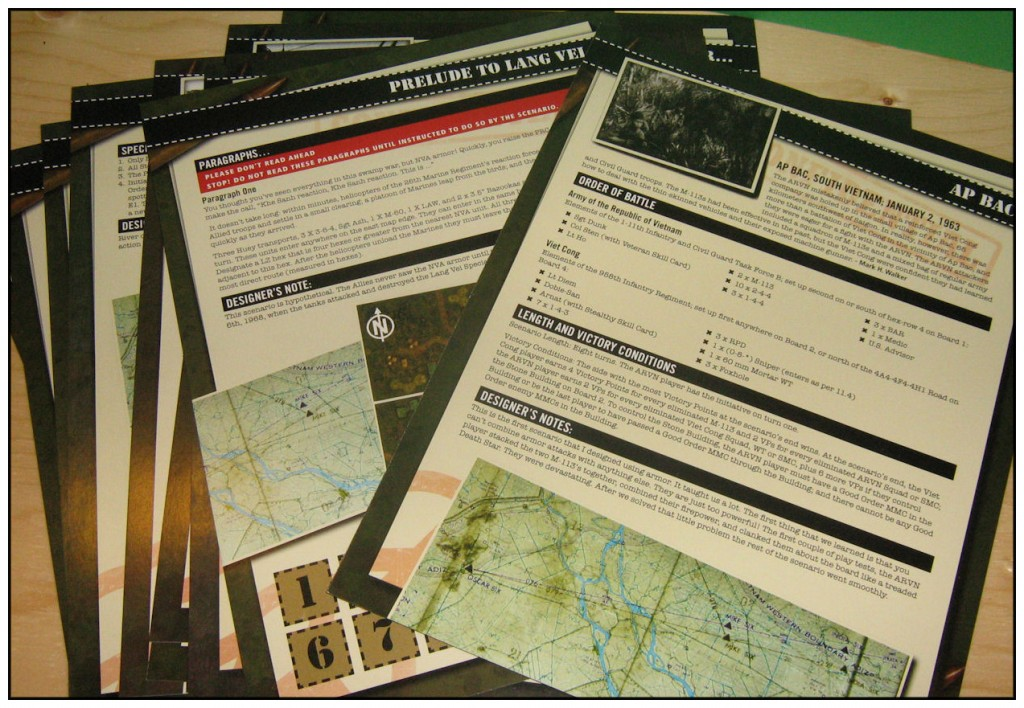 13 full colour card stock scenario cards that set out the situations, forces and maps involved in each fight.
