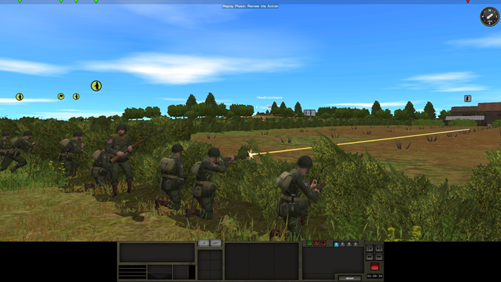 US paratroopers from 505th PIR return fire after making contact on the first turn of this scenario.