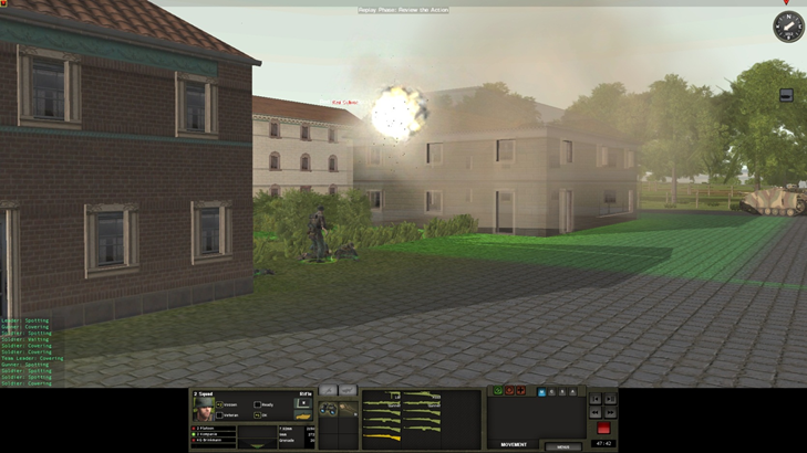 In the assault on Arnhem, friendly fire forces my SS troopers to ground. Note the StuG III covering the flank.