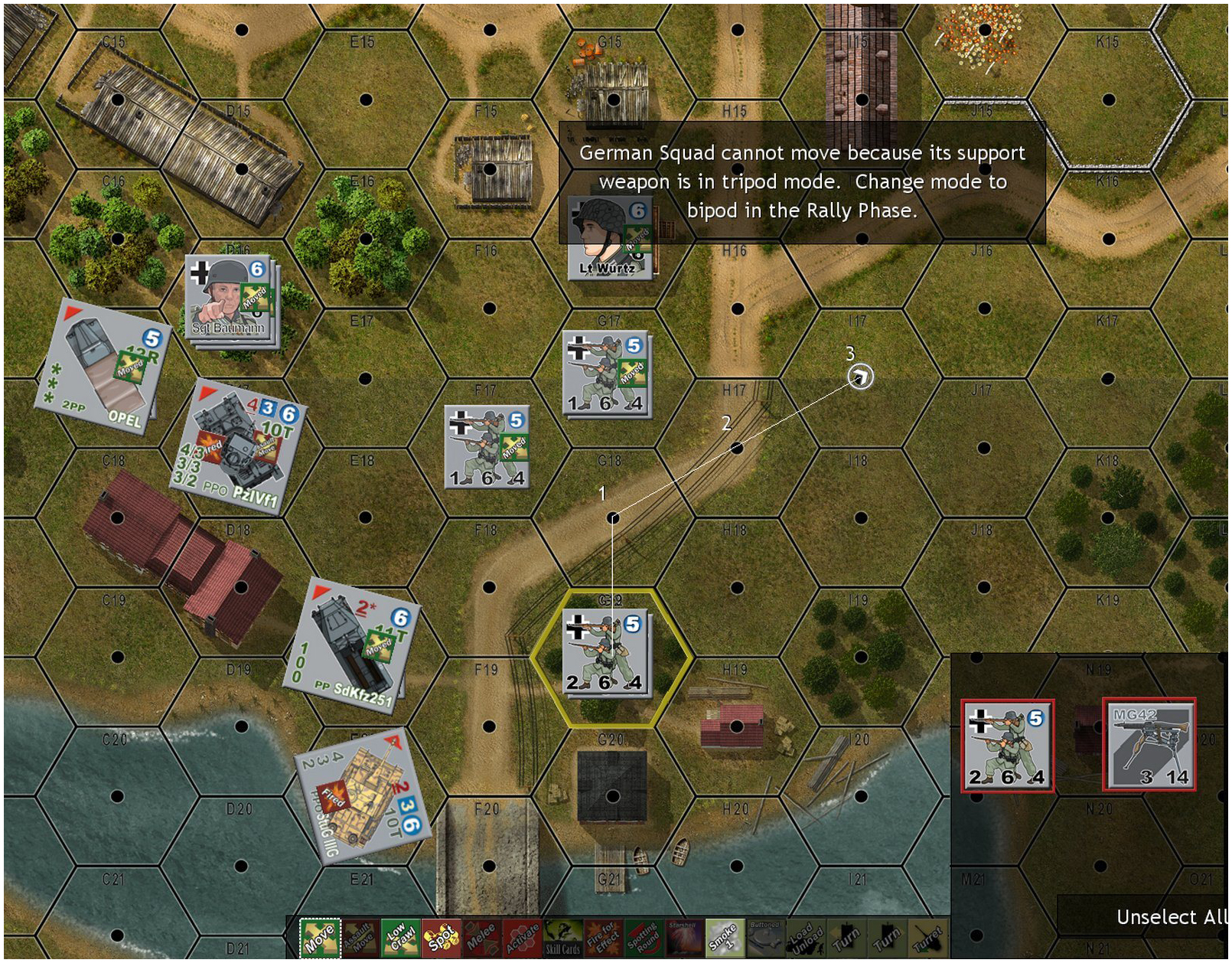 The German player must make tactical decisions as he assaults over a bridge
