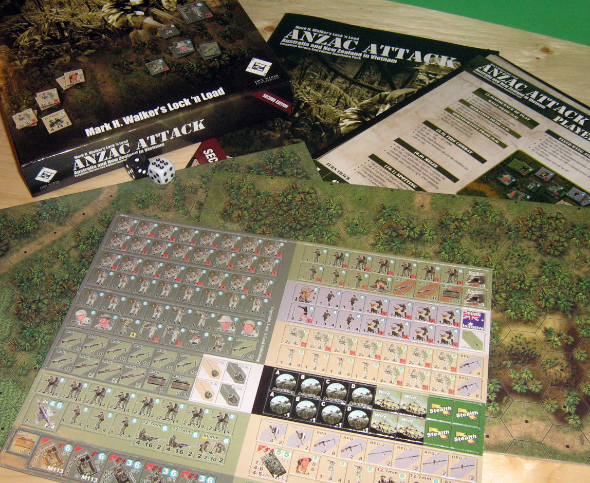 ANZAC Attacks comes with rules/scenario booklet, new counters, 2 new maps, more dice and another player aid card.