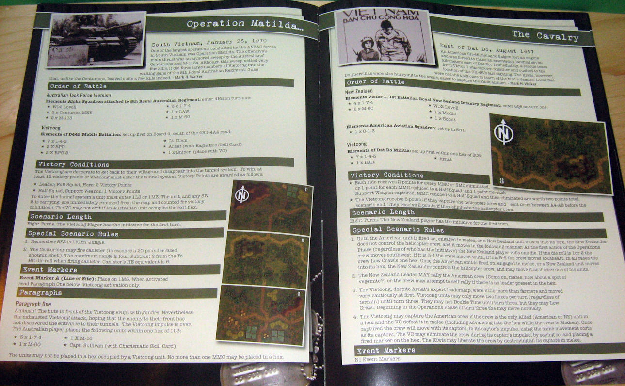 Scenarios again presented in full colour wit everything you need to rumble in the jungle.