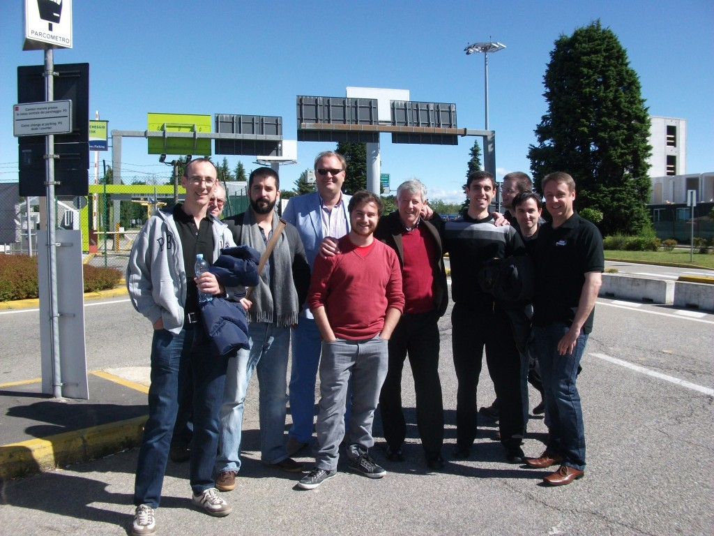 Outside Milan airport, Boggit meets other adventurers in the Party, and some Sages of Slitherine!