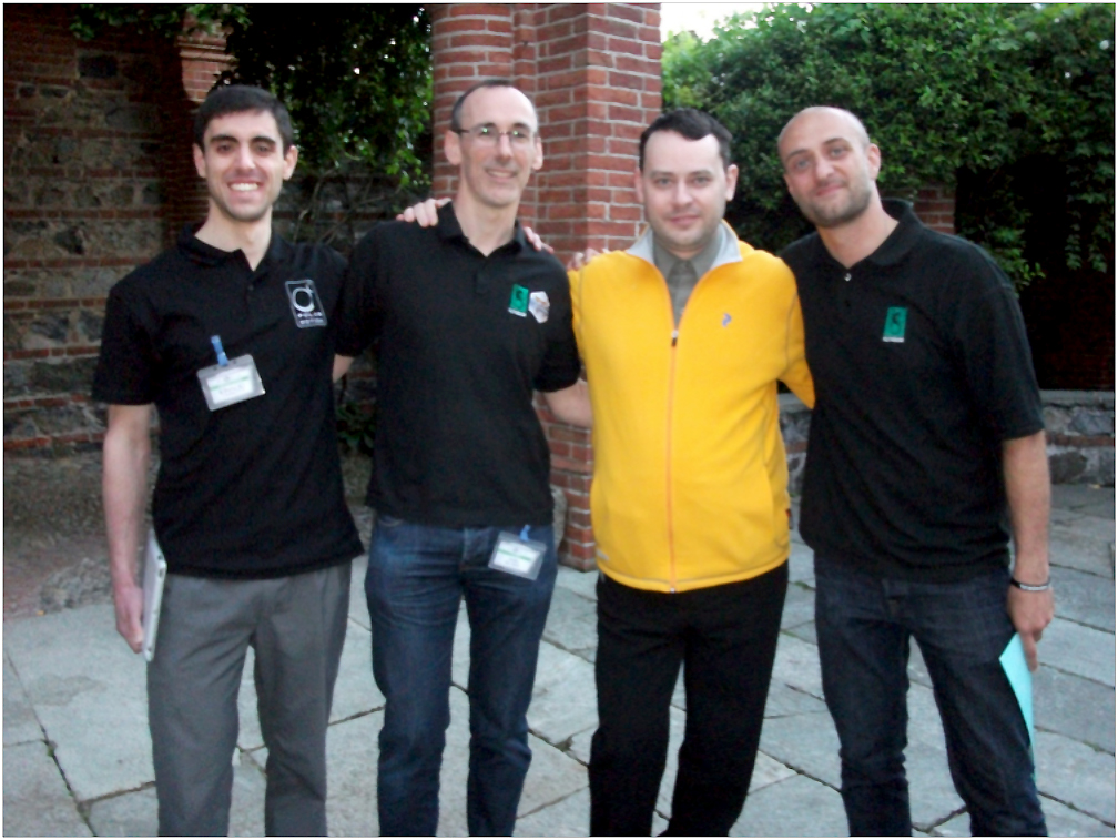 Left to right - Ignacio Liverotti, Lead Developer of Buzz Aldrin's Space Program Manager, Iain McNeil of Slitherine, Alex Shargin of Flashback Games, and Marco Minoli of Slitherine