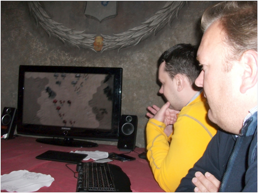 Alex Shargin (left) of Flashback Games, and Tim van der Moer (right) of the Lordz Games Studio demonstrate an early version of Warhammer 40K Armageddon to the Press. The Orks R Timz Boyz!