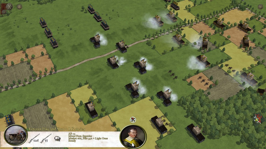 Swedes exchange fire with the Imperial forces in the Thirty Years War