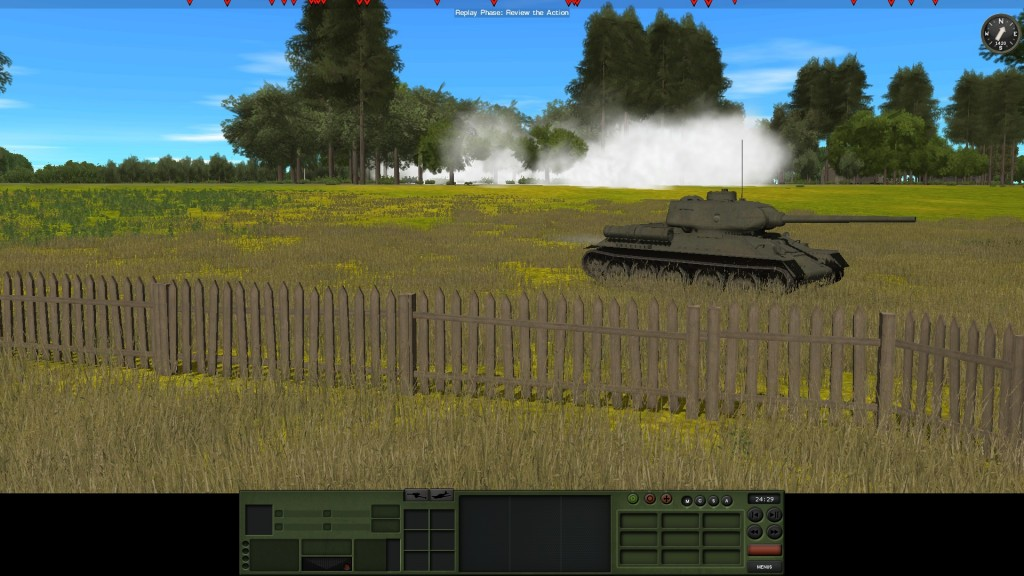 The peace doesn't last. As the infantry assault a wood under cover of smoke a T34-85 advances past towards an objective