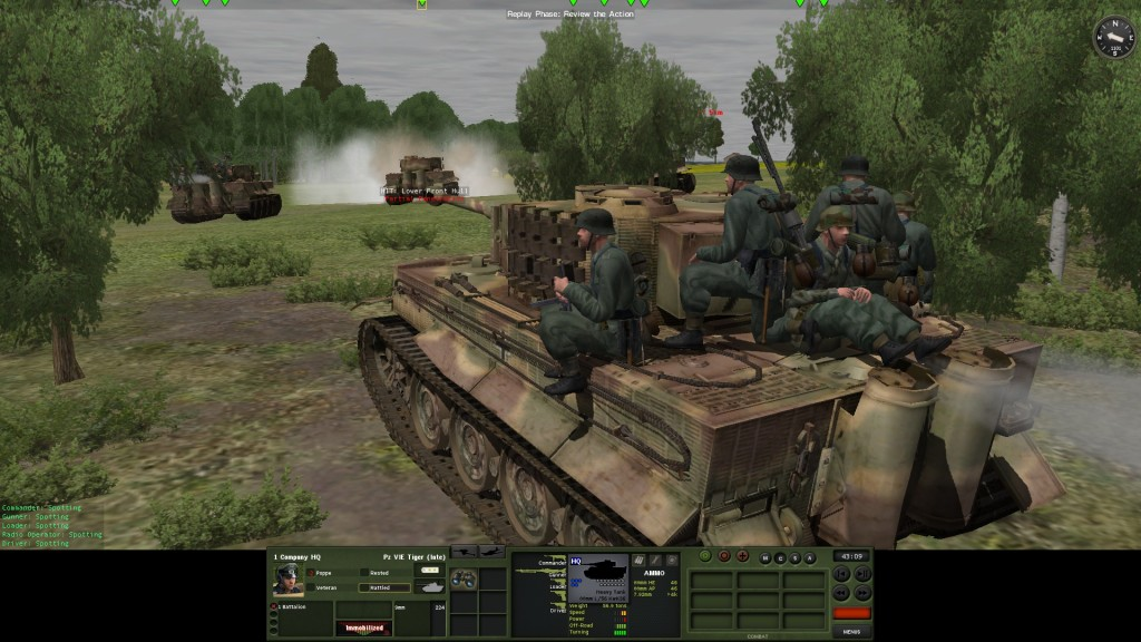 The Germans counterattack with Tigers, but run into an anti-tank ambush. Note the tank riders – and the mixed camo selection now available to players - Cool!