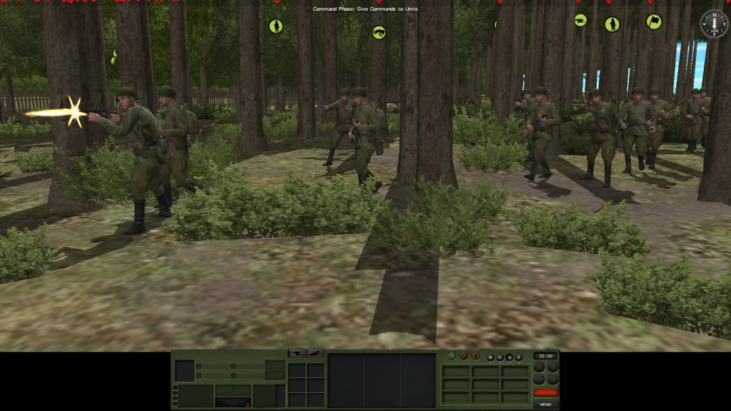 Advancing through woods, we make contact!