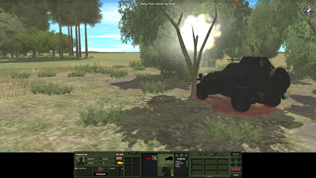 "They do ""fix"" my BA-64! Although the rocket hits a tree, the blast kills the driver and wrecks the vehicle. Luckily the commander escapes to start a new career as a field medic!"