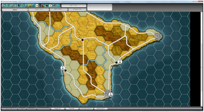 Pre-landing planning in Sicily. I have a free choice as to where to land, but pre-invasion recon has been a disaster!
