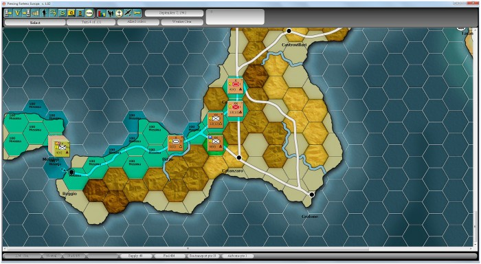 Crossing onto the toe of Italy, my troops are in good supply from Messina