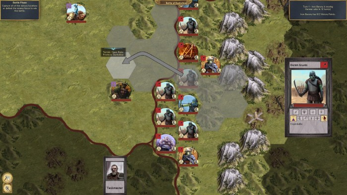 The Orcs charge into battle! This is the tactical level display for Sovereignty.