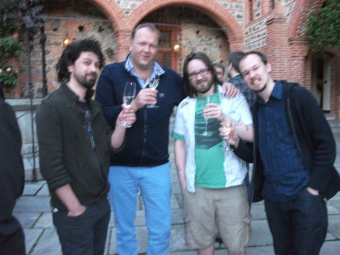 Tim chills out after some heavy demoing! Left to right: Ionut Georgescu (88mm Games), Tim van der Moer (Lordz Game Studios), Fraser Brown (PC Games-N), and Joe Robinson (Strategy Informer)