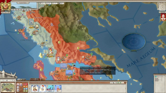 A risky proposition - I can only transport part of the Achaian army over the Gulf of Corinth. While the Aetolian fleet is ordered to support this operation, the Illyrians can turn this into a disaster if they intercept with their powerful fleet.