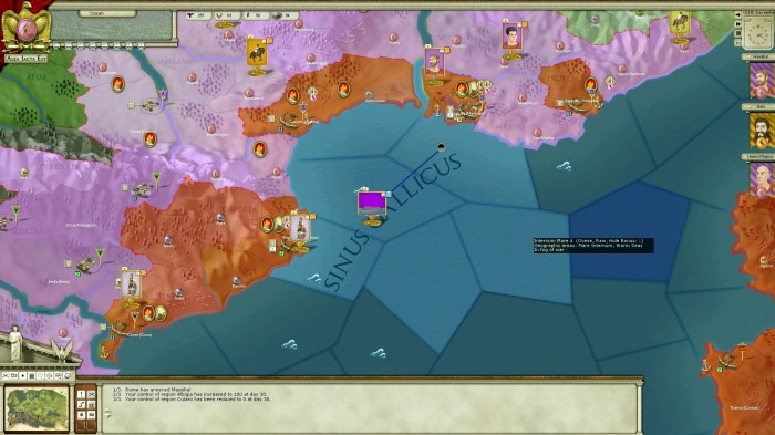 Rome annexes Massilia throwing my successful Gallic campaign into turmoil. It's winter now and there is no nearby port for my fleet! With stormy seas I could be in trouble. I later lose some shipping to storms, and my besieging troops starve.