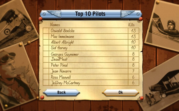 A running tally on pilots of all nations is kept periodically.