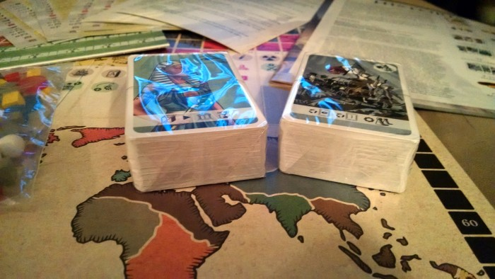 There's a pair of pretty substantial decks of cards.  They're actually 4-5 decks in 2 packages.