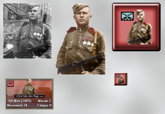 The unit cards, and counter art for Panzer Battles: Kursk are derived from photographs which were then coloured and integrated. Well done Joe Amoral! ©John Tiller Software