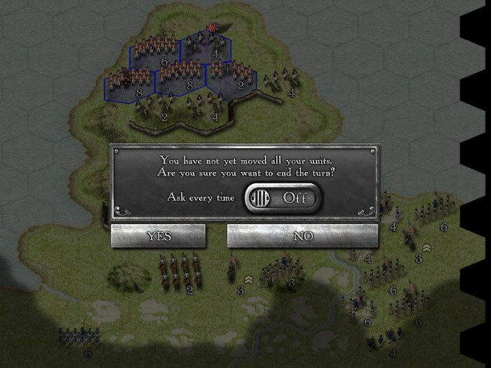 The interface will let you know if you have not moved all your troops. You will learn to despise this pop-up, but it can be turned off.
