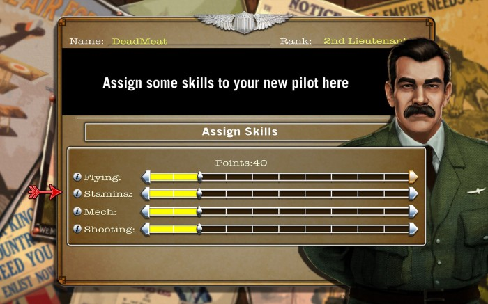 The pilot skill assignment screen.