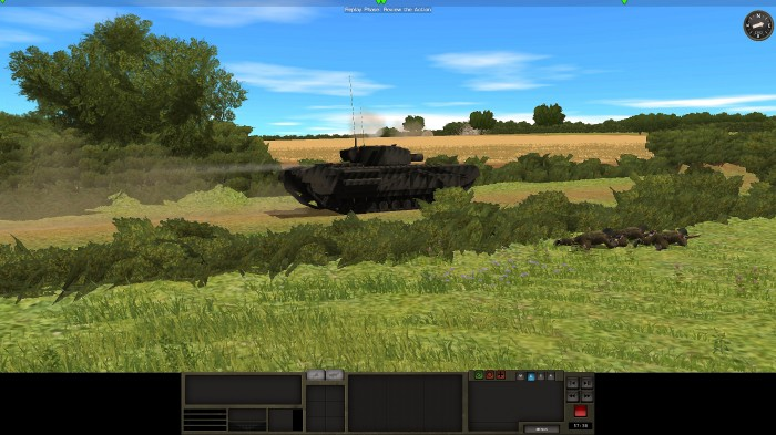 A Churchill AVRE supported by infantry advances in spite of nearby mortar fire. It also carries a breach team for when a 290mm round is just overkill. Reloading the Petard mortar on the AVRE is slow, but historically correct.