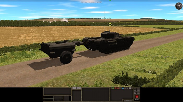 A Churchill Crocodile advances up a road. Note the fuel bowser for the flamethrower. Things could get nasty if that got hit by a shell.
