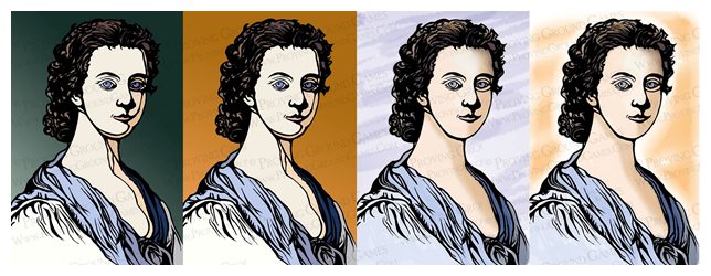 Shannon has been updating the art work for 1740 (Flora MacDonald shown)