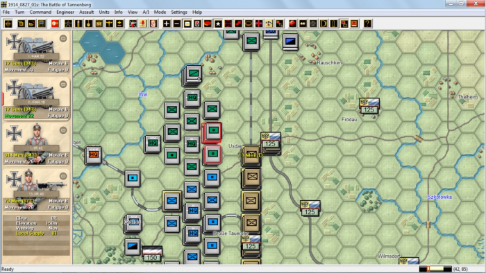 The first bombardment at Tannenburg by I ArmeeKorps field artillery starts auspiciously with the disruption of a Russian unit - an assault will soon follow. New features like radio intercepts now add to the game experience in East Prussia 1914