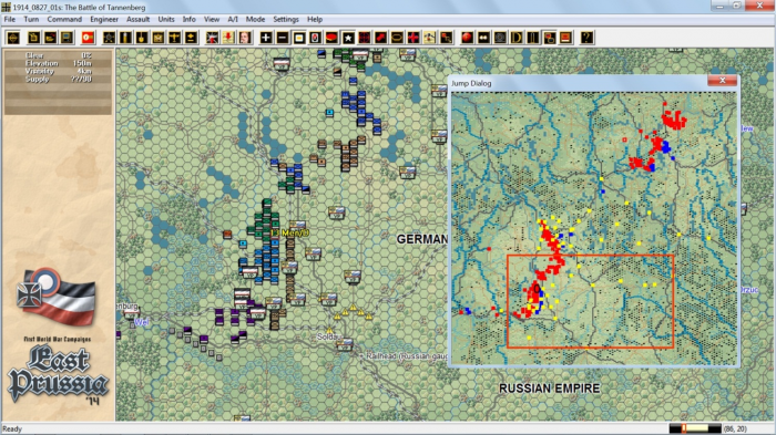 The Battle of Tannenburg covers a huge area, as can be seen from the zoomed out map and jump map. The underlying screenshot shows the southern part of the battle, but significant forces are in the north