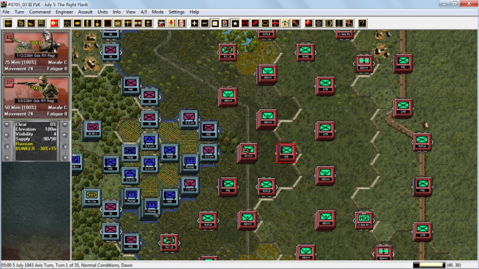 John Tiller Software's artist Joe Amoral deserves praise for starting a fresh approach to the artwork presentation in Panzer Battles: Kursk. Maps and counters, and vehicle representation have all been revamped. Nice!