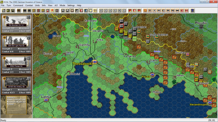 John Tiller Software produces games at a wide range of scales. Here the Germans are about to descend on Greece in their War on the Southern Front strategic level game.
