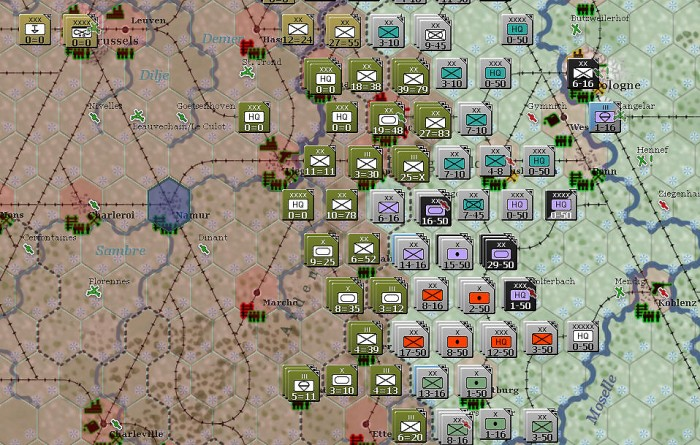 I enjoy the simple display on each unit, as well as being able to customize the look of the map to reflect the info I want to see (here, weather and enemy [Allied] control).