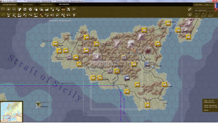 Here are the areas of operations for my different air forces. The strategic air command covers the whole island of Sicily, while my tactical air forces protect the American sector containing the Hermann Goering Panzer Division threat.