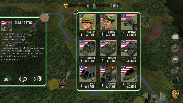 Here is the US recruitment screen. It shows the available units, their political point cost, and information about them. In this case the M48 Patton information is shown.