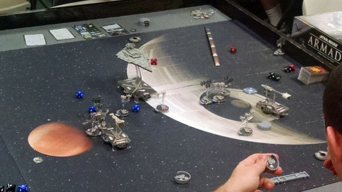 Star Wars Armada, with the Death Star looming in the background