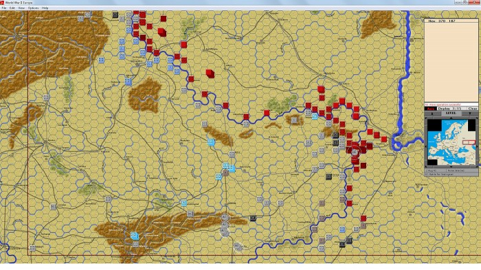 Vorwärts nach Osten! This is the Battle for Stalingrad (the German attack) scenario. The map has been zoomed out showing almost all of the battle area (within the red box).
