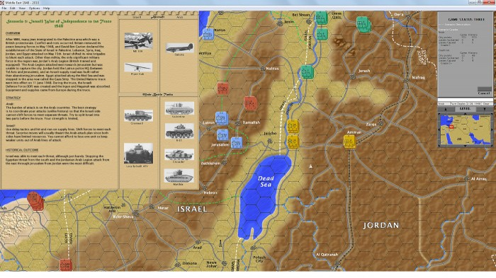 This is the Game status screen3 for Middle East War – the Israeli Independence War 1948. Here you can learn about the situation, strategy tips, and the historical outcome.