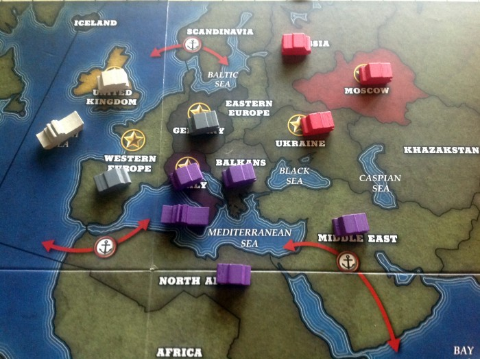 A close up of Europe. The Italians are running rampant while the Germans and Soviets haven't done much…at least, not yet.