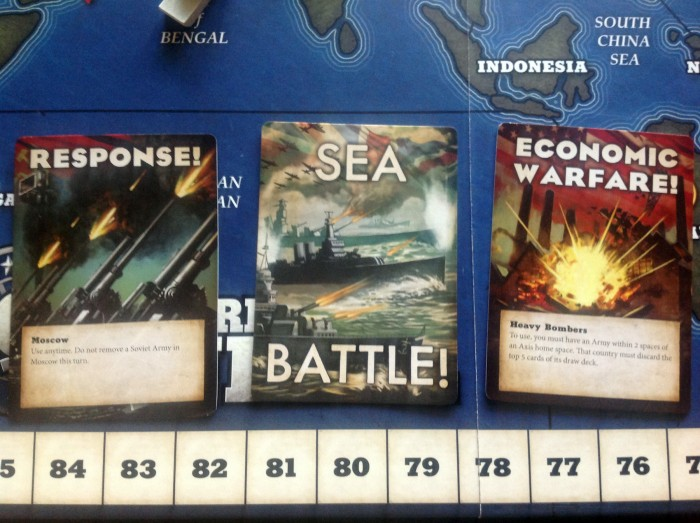 Response, Sea Battle, and Economic Warfare cards.