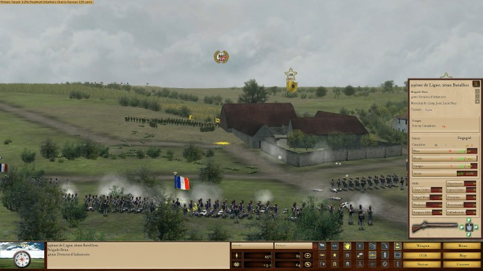 The Dutch have had enough and are falling back. I still need to keep up the pressure on the farmhouse to force their defenders out. (Troops in buildings are represented by a flag, the puffs of smoke from the walls show that they are still fighting). This picture also shows the effect of pressing the status button, which gives all the relevant information – ammo, strength, morale, fatigue, etc. - regarding the unit in question.