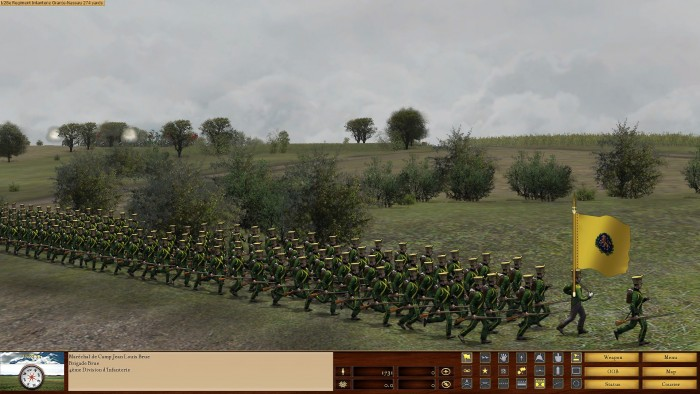 Dutch troops from Nassau advance at the double to be ready to confront my brave lads. The artwork in the game is really nice, sometimes too nice as the soldiers don't quite match the terrain resolution. That said the soldiers do look good, and NorbSoftDev has paid proper attention to uniforms, flags etc.