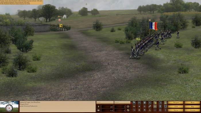 As a Dutch unit deploys near Papilotte, I rush a battalion of line infantry to face them. They are ordered to use the slower, but more destructive method of volley fire to defeat the Dutch (see the three musket button on the status bar).