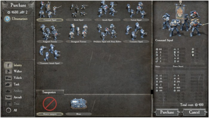Ultramarines are definitely pro melee. Every infantry unit carries chainswords, but then again, so do the Blood Angels, as do the Salamanders. However, they do have aircraft available to them early on.