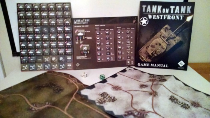 The comparatively sparse West Front box has 1 countersheet, 2 double-sided maps, and the rulebook and player aid card.  And dice (pictured).