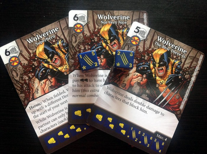 Note these two Wolverine character dice – the one on the left has an attack of 5 and defense of 2, while the other one on the right has an attack of 6 and a defense of 3.