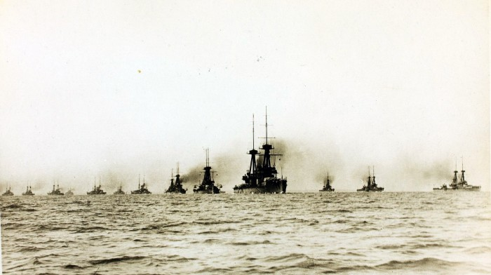 The British Grand Fleet in WW1 (Courtesy: British Library)