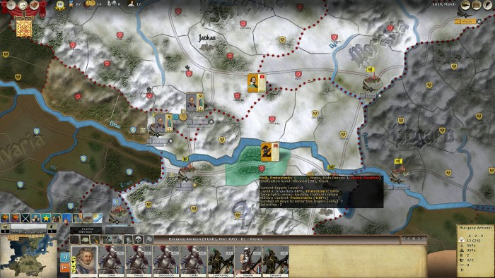 Shortly after I start my march to Wien I bump into a Dutch cavalry regiment, killing about half of them. Von Mansfeld obviously has got the jitters and pulls back towards Budweiss, so I counter-march back to protect it. Wien is saved, although the Dutch cavalry unit frustrate my conversion efforts in Lower Austria. Von Mansfeld's troops will have suffered a lot in their three month march in bad weather, so all in all, a satisfactory outcome. I'll commence my offensive when the weather improves.