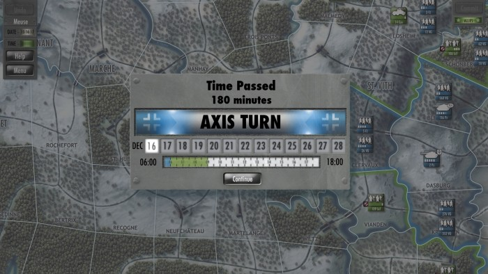 Game turns can range from a half an hour – in the surprise phase -  to potentially several hours in a standard turn. Combat did not turn out too well for me. While I was successful atClervaux, I took a loss to 116Pz at Biealf, and was rebuffed at Losheim with a loss to 3FJ division. Nonetheless, next turn I push 116 Pz through to Vielsalm with the 560VG division following up at St Vith.